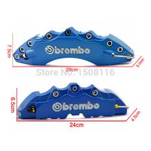 Alta qualidade de cor azul Brembo Brake Caliper 4 pçs/lote Car ABS frente + trás Disc Cover 3D com Kit Universal(China (Mainland))