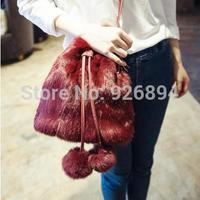 European and American fashion  soft plush fake rabbit stitching PU ladies handbag bucket bag shoulder bag messenger bag