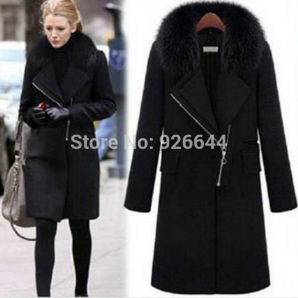 Лучшие продажи новых женщин зима теплая меховой воротник сгущать шерстяное пальто лацкан молния куртки