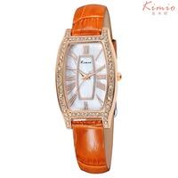 New Arrive 6 Colors KIMIO Women Watch Luxury Brand Fashion Tonneau Women Rhinestone Leather Band Wristwatches KW516