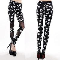 2014 New Fashion Women Clothing Black Skeleton Printed Leggings Sexy Mesh Patchwork Slim Jeggings Pencil Pants Hot Sale L37