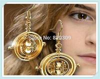 sale 2014 new popular vintage retro harry potter time turner earring rotating hourglass drop earrings Hermione Granger wholesale