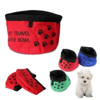 600D Oxford Fabric waterproof water bowl Pet Dog Cat Bowl Water Food Foldable Fold Up Portable Travel Waterproof