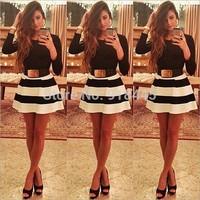 New Sexy Mini Striped Women Dress Fashion Vestidos Casual Long Sleeve Autumn&Winter Dress Evening Party Dress Free ShippingLYQ12