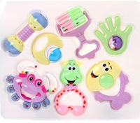 free shipping 2013 New Colorful Lovely Baby 7PCS/SET Toddlers Pram Crib Music Toy Activity Plastic Bell Rattles Toy Set