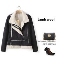 Large turn-down collar  Lamb wool stichting jacket 2014 NEW wool coat woman jacket autumn overcoat Woolen coat slim trench solid