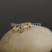 Adjustable Silver Gold Women Vintage Love Letter Open Ring Toe Ring Knuckle Band Mid Finger Tip