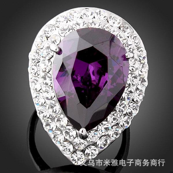 The Gorgeous Noble o Ring o creative luxury romantic purple love heart zircon set simulated diamond