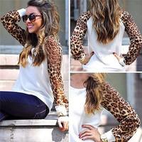 Sudaderas 2014 Women Autumn Fashion Brand Chiffon Sleeve Casual Sweatshirts Leopard Clothes Large Sizes Sport Suit Hoodies