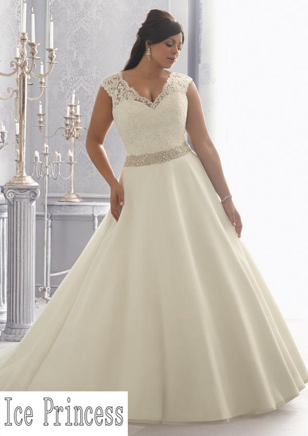 2015 Elegant A Line Beading Belt V Neck Wide Straps New Plus Size Wedding Dre