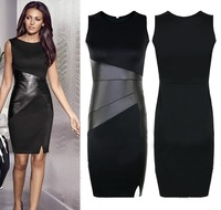 2015 New Celebrity Slim OL Leather Patchwork Casual Pencil Dress Sexy Sleeveless Elegant Party Bodycon Dresses