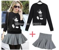 2014Blusas Atacado Roupas Femininas European and American women cartoon Mickey sweater sweatshirt casual skirt suit