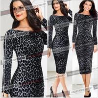 Ebay symmetrical print slim leopard print zipper prettifier one-piece dress bodycon dress
