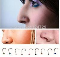 Value Wholesale 10 x Titanium Steel Nose Screw Studs Rings Rhinestone Crystal Gem Piercing Bars  for Women Men Unisex