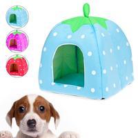 Sponge Fabric Cotton Foldable Warm Strawberry Pet Dog Cat Bed Nest House Cushion Basket + Mat S/M/L