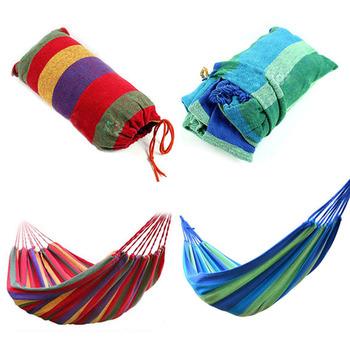 Портативный открытый сад гамак повесить кровать путешествия отдых свинг холст полоса ...