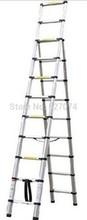 Big desconto 2.6 M + 3.2 M desigual lados escada telescópica liga de alumínio Retactable gostam de bambu duplo dois lados sem articulação(China (Mainland))