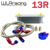 WLR STORE-AN10 OIL COOLER KIT 13RWOS TRANSMISSION OIL COOLER SILVER+OIL FILTER  ADAPTER BLUE + STAINLESS STEEL BRAIDED HOSE