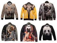 2014 Europe and America tide brand personality stereoscopic 3D cartoon animal pattern hedging long-sleeved T-shirts for men and