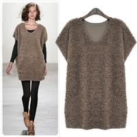 Fashion 2014 women's short-sleeve basic plus size vest sweater one-piece dress
