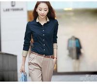 Clearance Price 2014 Autumn Fashion OL Elegant Women Work Wear Long Sleeve Patchwork Office Lady Career Blouse Shirt Blusa,S-XXL