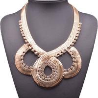 2014 New Vintage Style Gold Carving Flower Letter Choker Shourouk Necklace False Collar for women