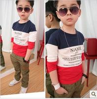 2015 spring autumn hot sale boys fashion patchwork cotton t shirt children long sleeve Basic  tops 1290