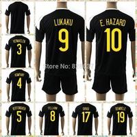 New Fashion 2014-2016 European nations cup Hazard Lukaku kompany Vermaelen Dembele Kit Uniforms Black Jerseys Soccer Jersey