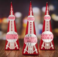 2014 Wedding Candy Box Rectangular Pyramid Tower Pattern Free Shipping 100 Pieces