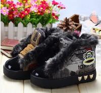 children boys girls winter boots fashion princess canvas sports shoes cartoon patch floral velvet plus fur keep warms snow boots