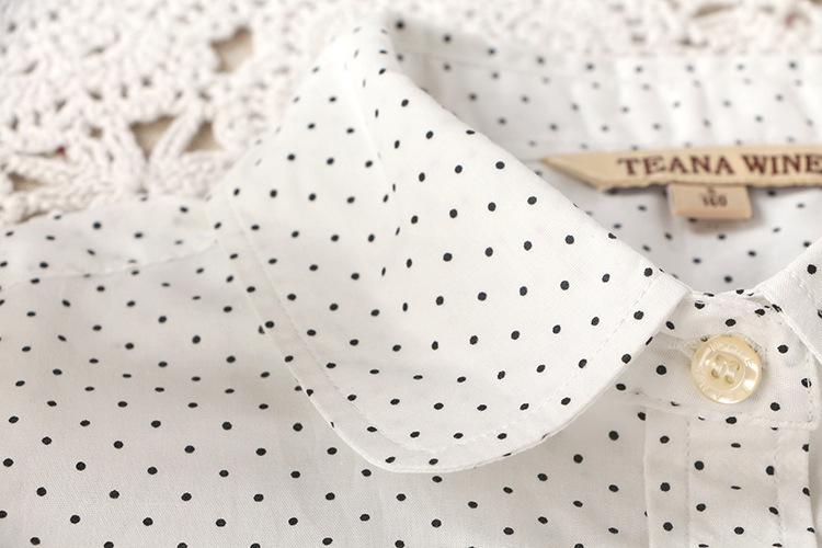 Мода леди сладкий точки печать белый хлопок блузка с