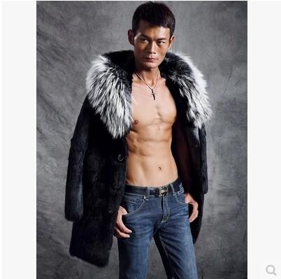 New men's fur mink fur imitation tide models 2014 Korean men's long coat fur coat winter jacket men XS-3XL(China (Mainland))