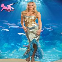 christmas costumes Beautiful& Luxury Gold Strapless Sexy Mermaid Dress Hight Design cosplay Nightclub Charming costume HMR004