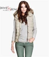 2014 New patchwork down vest women fur collar winter coat women waistcoat Removable hooded cotton zipper women vest down jacket