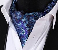 Blue and purple pattern Floral Silk Cravat Woven Ascot Tie Pocket Square Handkerchief Suit Set