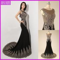 Real Sample Custom Made 2015 Elegant Mermaid Sparkle Crystal Black Long Evening Dresses Formal Dress vestidos de fiesta MY-005