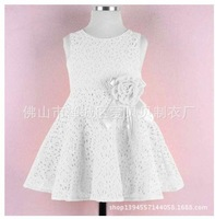 2014 Openwork Lace Girls Princess Dress Tulle Tutu Dress Kids party Dress Children Rose Dress Free Shipping