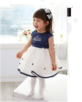 Princess dress children's dress Diamond Crown tutu dress baby girls birthday party gifts  clothes for girls dress blue