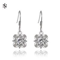 Women's fashion earrings New arrival 18k white gold earrings Shiny CZ Crystal Drop Earring for women girls High Quality KE1013-C
