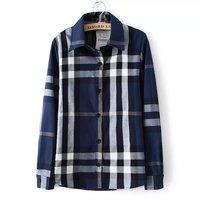 Autumn Spring New Lapel Collar Plaid Blouse Shirt for Women Long Sleeve Plus Size XL XXL Free Shipping
