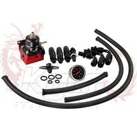 KYLIN STORE --- New Universal Rubber hose and gauge Fuel Pressure Regulator Oil Cooler Kit FPT005A  all black