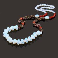 2014 new natural Moonstone Tribal Tibetan silver flower chunky statement bib collar necklace pendants female free shipping