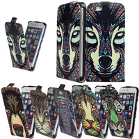 "New Stylish Up And Down Tiger Head Owls Wolf Animal Flip Leather Case For iPhone 6 (4.7"") With Business Credit Card Holder Slot"
