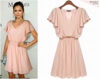 European Brand Spring & Summer New Fashion Women Pink Chiffon Dresses V-neck Ladies Casual Dress Vestidos Free Shipping