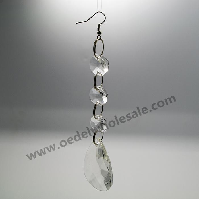 10Pcs/Lot, 5 ''Long Garland= 3Beads+1 Almond Pendant+1 Hook, Free Shipping, Wedding tree Crystal garland, Chandelier Parts(China (Mainland))