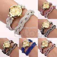 M65 Free Shipping Women's Dial Wave Bracelet Sparkling Crystal Band Quartz Analog Wrap Wrist Watch