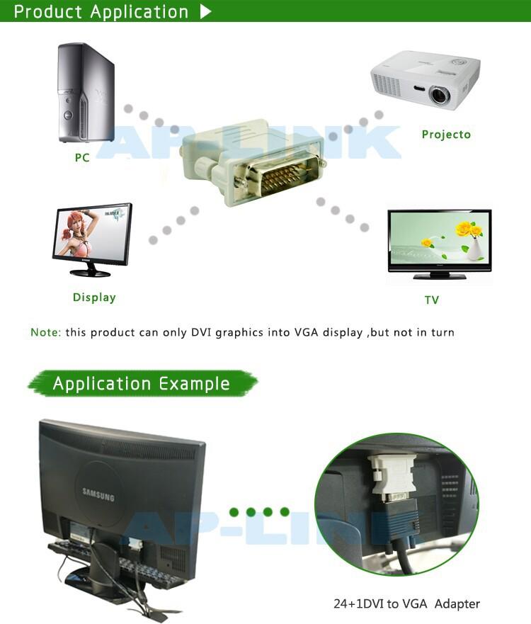 DVI to VGA adapter connector /dvi 24 1 to vga cable white adapter 10pcs/lot free shipping(China (Mainland))