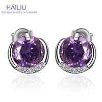 FVRE015Free shopping Elegant High End Brass Big Crystal Fashion Zircon Stud Earrings