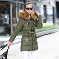 free shipping tops new 2014 women clothing winter large fur parka outerwear cotton-padded jacket female down coat Down & Parkas