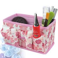 Non-woven small broken flower folding cosmetics receive a case/desktop ditty-bag receive box